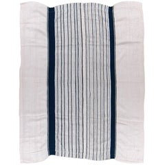 White and Indigo Dyed Yoruba Textile from Nigeria, West Africa