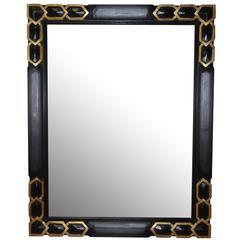 Ebony and Gold Gilt Trim Mirror, France, 1930s