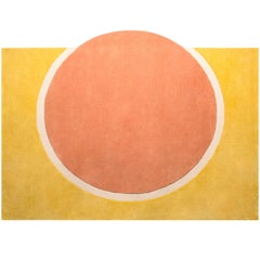 Pieces Sunset Modern Round Hand Tufted Colorful Coral Yellow Rug Carpet
