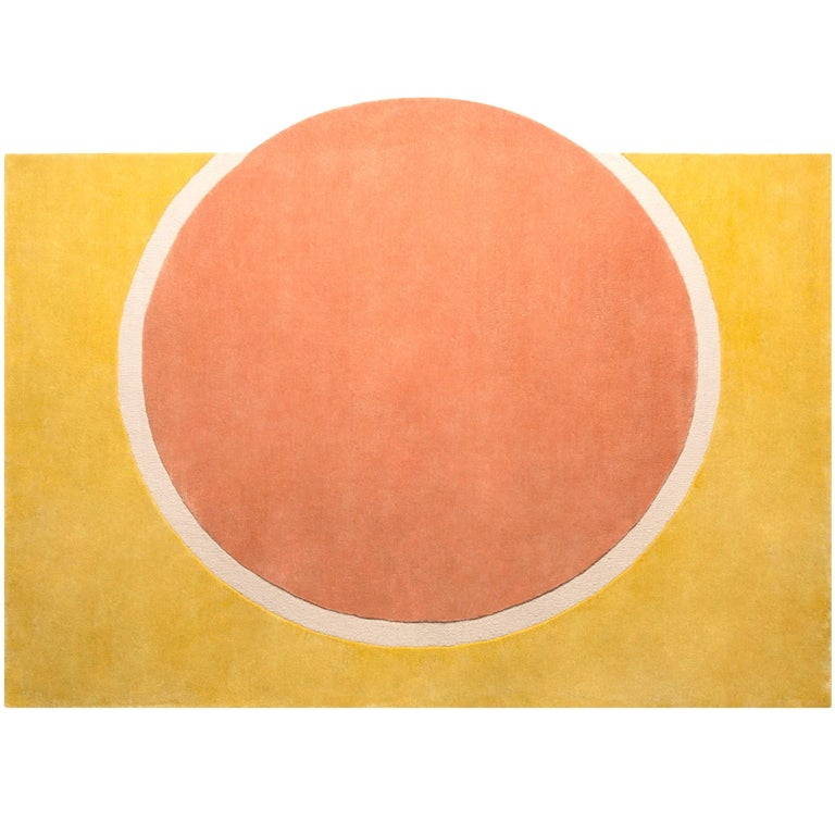 Pieces Sunset Modern Round Hand Tufted Colorful Coral Yellow Rug Carpet For Sale