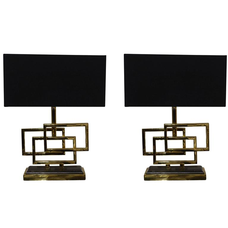 Pair of Brass Triple Box Lamps, Belgium, Contemporary For Sale