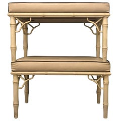 Pair of Hollywood Regency Faux Bamboo Benches