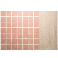 Pieces Kenny Rose Pink Nude Colorful Grid Pattern Modern Hand Tufted Rug Carpe