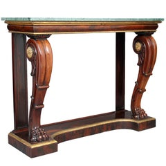 19th Century William IV Rosewood Marble-Top Console Table