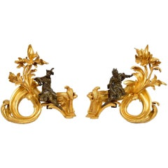 Pair of 19th Century Ormolu and Bronze Chenets, Depicting Chinamen