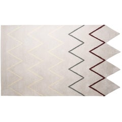 Pieces Otto Grey Zig Zag Print Modern Hand Tufted Irregular Shape Rug Carpet