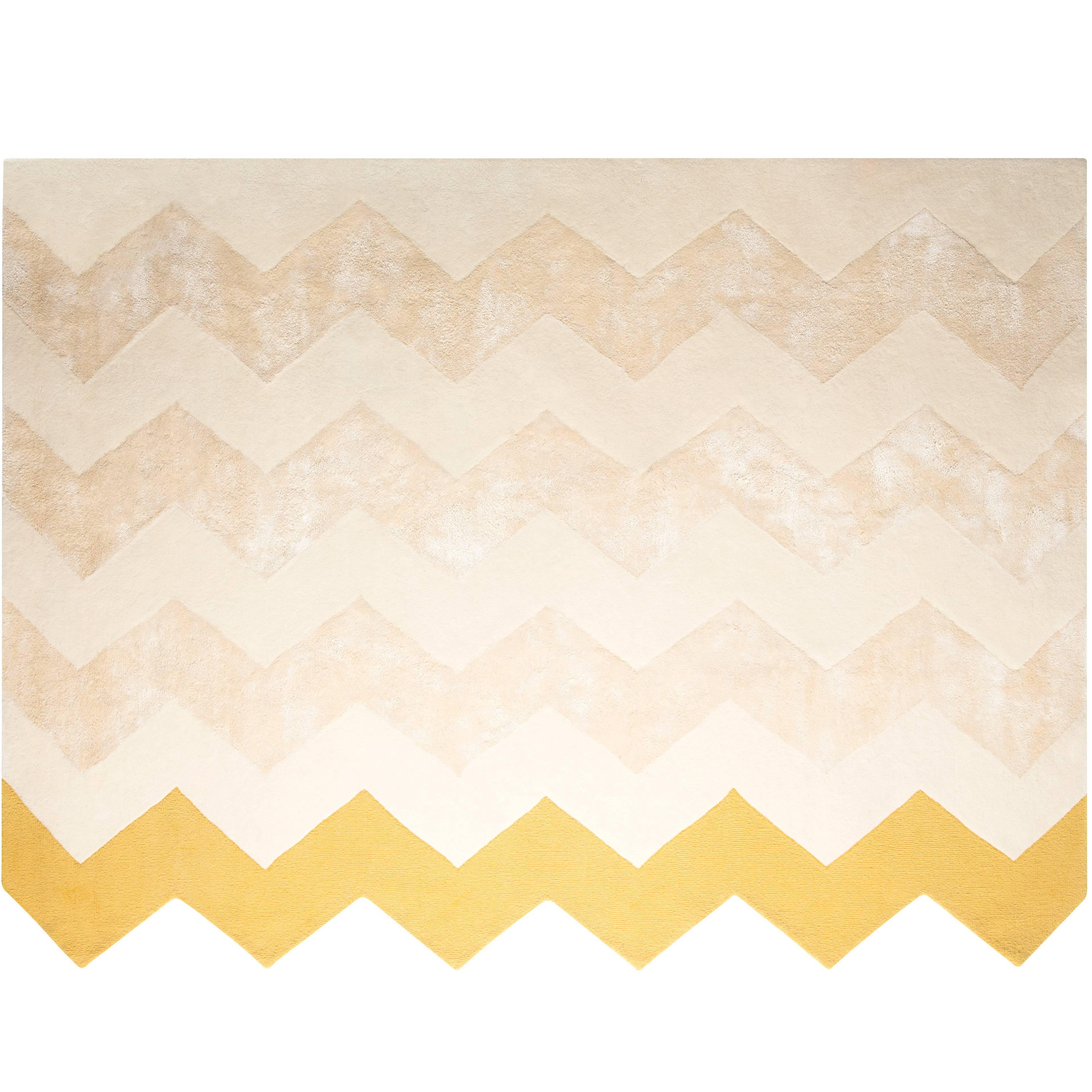 Zuko Chevron Print Rug by Pieces, Modern Grey Hand Tufted Zig Zag Rug Carpet