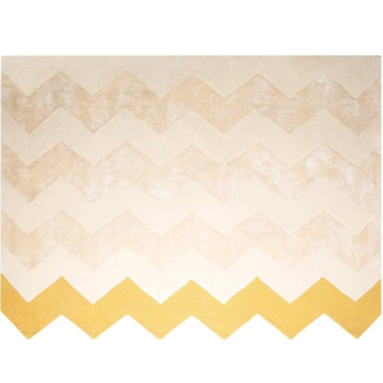 Zuko Chevron Print Rug by Pieces, Modern Grey Hand Tufted Zig Zag Rug Carpet  For Sale