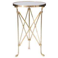 Contemporary Brass Guéridon Table with White Marble Top and Tripartite Base