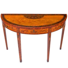 Superb George III Inlaid Satinwood Demi-Lune Console Table
