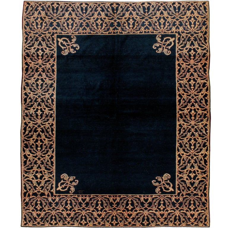 Midcentury Handmade Persian Art Deco Style Navy Blue Area Rug For Sale