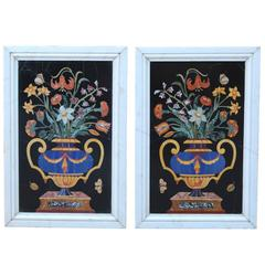 Pair of Large 19th Century Italian Pietra Dura Panels after Corbarelli