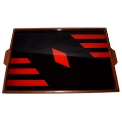Art Deco 1930s Geometric Reverse Painted Serving Tray