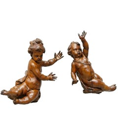 17th Century Old Carved Walnut Two Putti by Andrea Brustolon