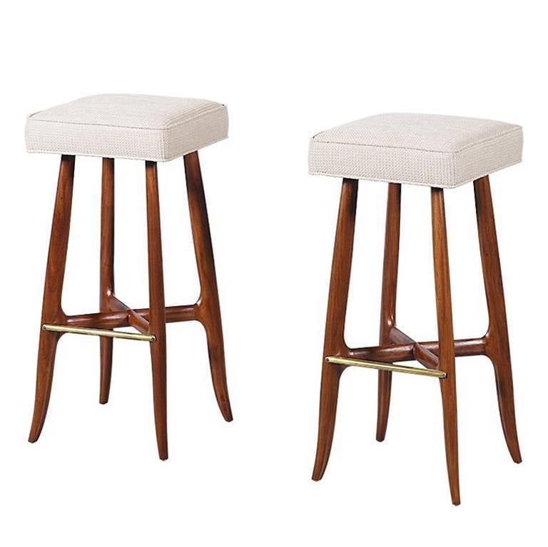 Mid Century Walnut And Brass Bar Stools For Sale At 1stdibs