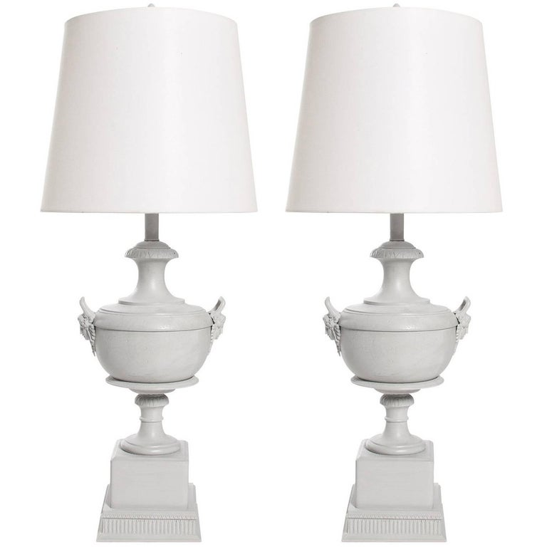 Pair of White Urn Lamps