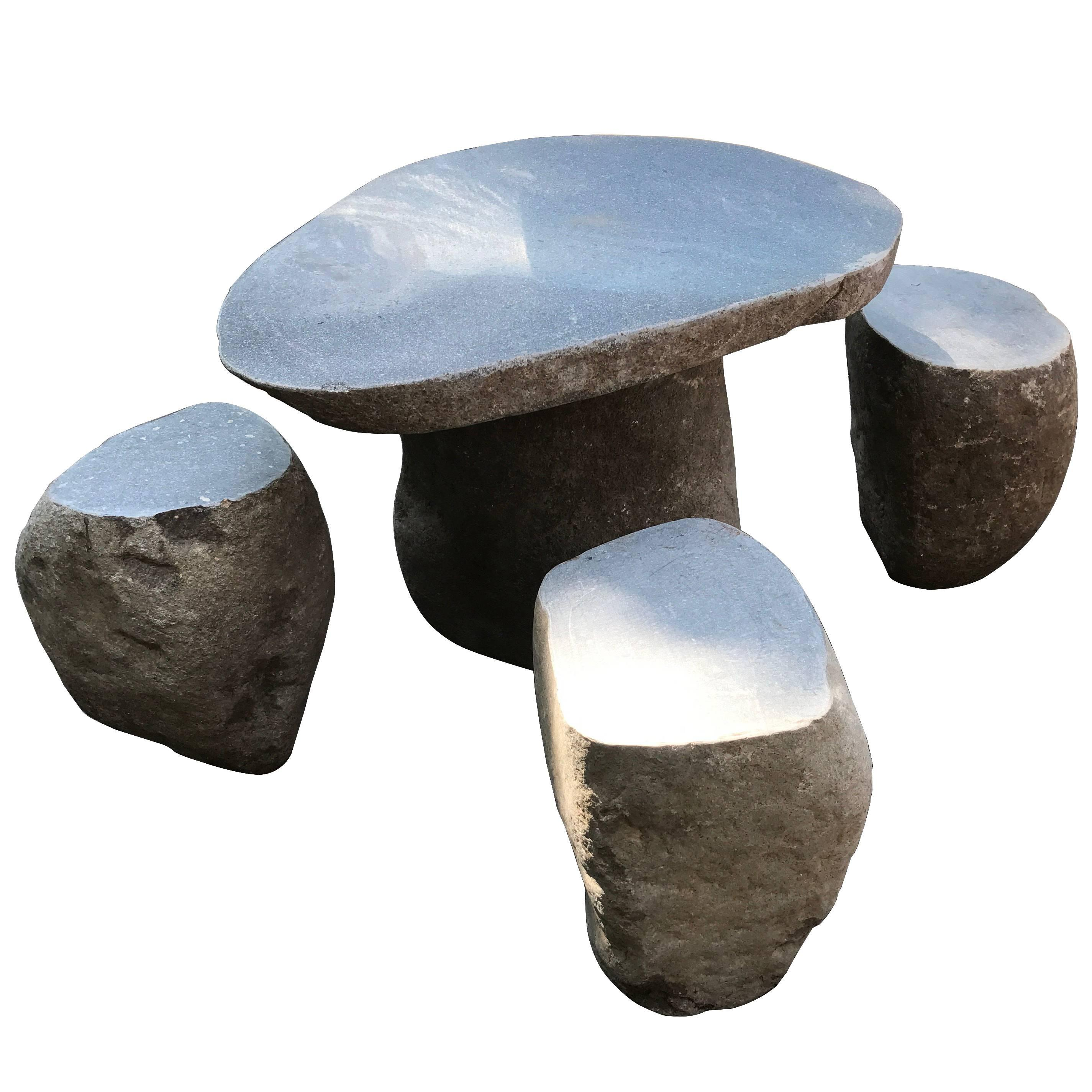 Hand Carved Garden Stone Table U0026 Stools Six Pieces Solid Limestone  Immediate Use For Sale