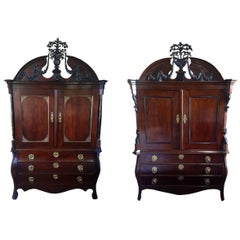 His and Her Pair of 19th Century Dutch Linen Presses