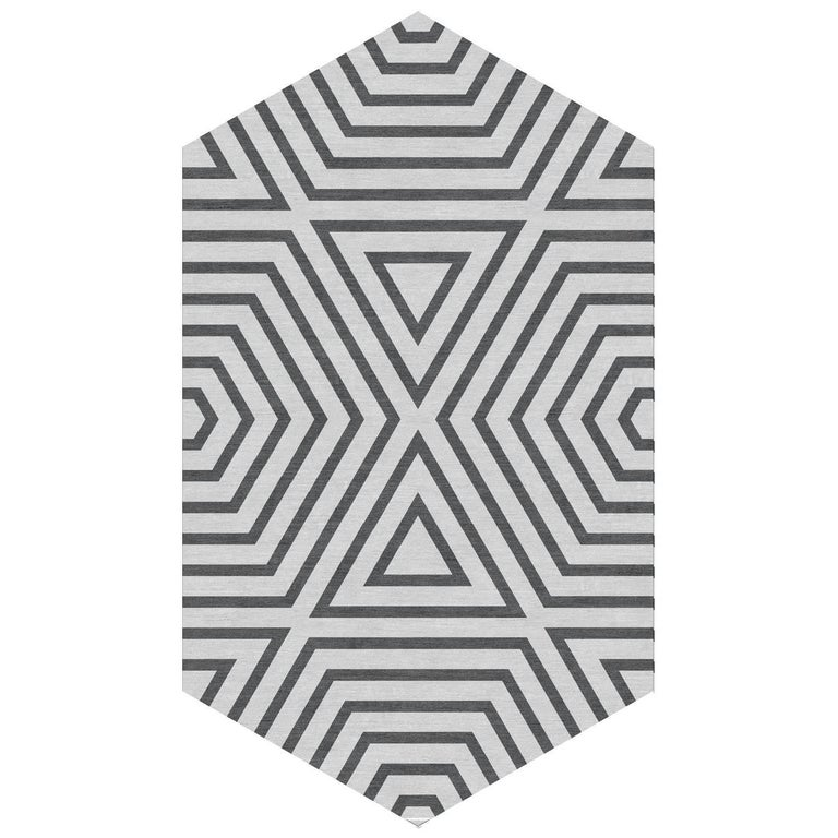 Kinder MODERN Ice Grey Reverse Zebra Lozenge Area Rug in 100% Wool