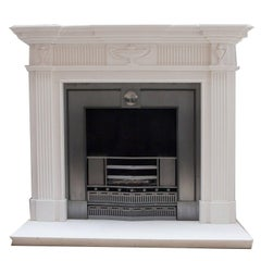 Adam Style Hand-Carved Limestone Fireplace Mantelpiece