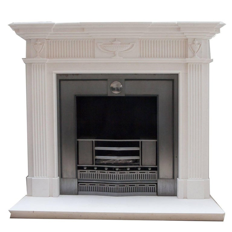 Adam Style Hand-Carved Limestone Fireplace Mantelpiece