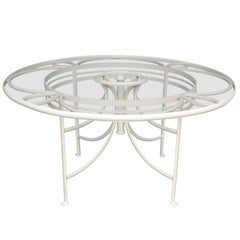 1930s White French Iron and Glass Outdoor Garden Dining Table Round