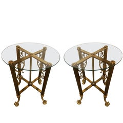 Pair of Fine Bronze Based End Tables with Glass Tops
