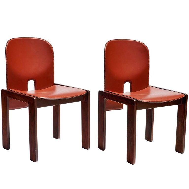 "Pair of ""121"" Chairs in Rosewood and Leather by Tobia & Afra Scarpa 1"