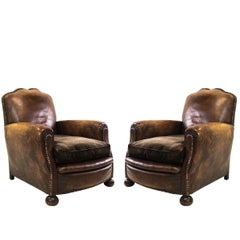 Pair of Vintage Cognac Leather Club Chairs