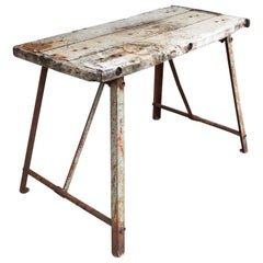 Rustic Antique Bleached Wood & Metal French Work Table