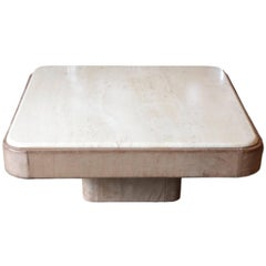 Gray Leather Coffee Table with Travertine Top by De Sede