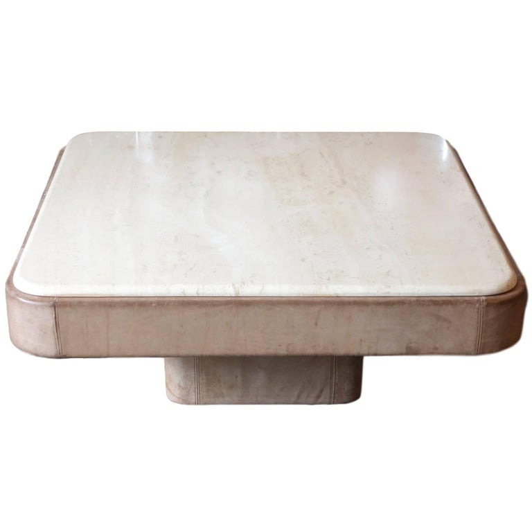 Gray Leather Coffee Table With Travertine Top By De Sede For Sale At 1stdibs