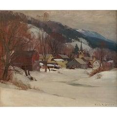 "Emile Albert Gruppe ""Winter Cambridge"" Oil Painting, 1946"