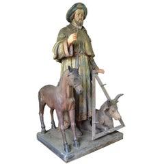 19th Century Plaster Saint Guy of Anderlecht Religious Figure