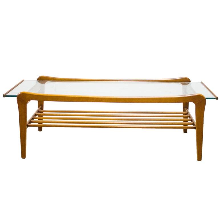 Danish Teak And Glass Coffee Table Magazine Shelf G Plan Eames Era For Sale At 1stdibs