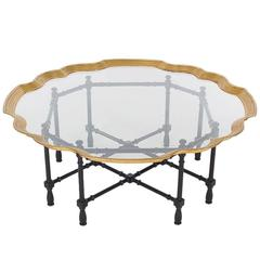 Hollywood Regency Faux Bamboo, Brass and Glass Cocktail Table, Asian Modern
