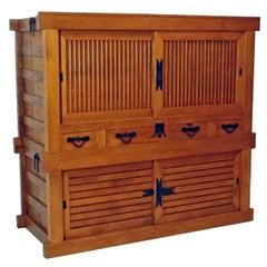 Cypress Wood Futon Tansu Cabinet, Japan Meiji Period