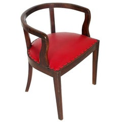 French 1920s Art Deco Armchair in Brown Walnut, Red Skin Color Jules Leleu Style