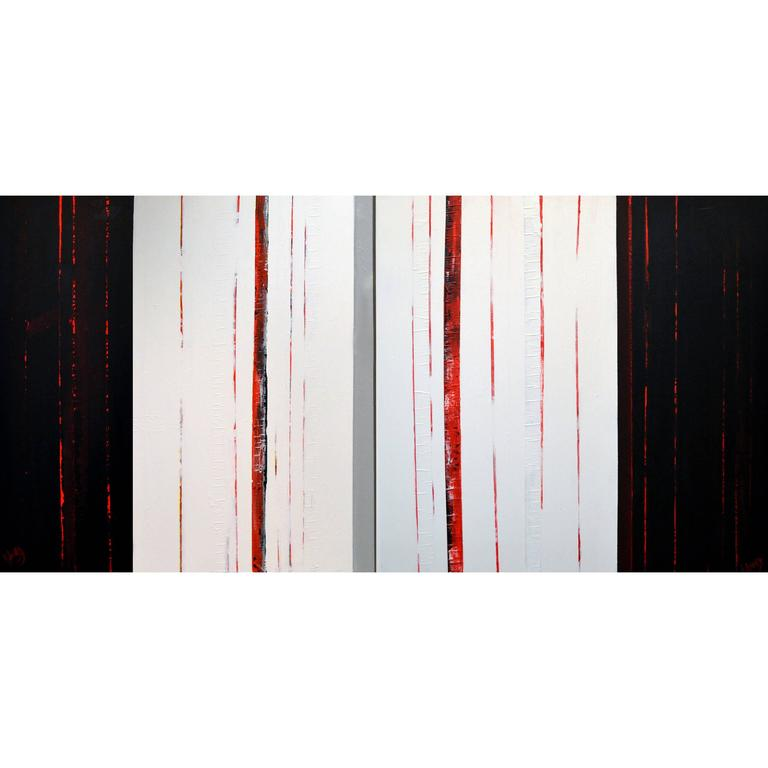 Sean Young Abstract Minimalist Mixed Media Diptych  For Sale