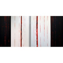 Sean Young Abstract Minimalist Mixed Media Diptych