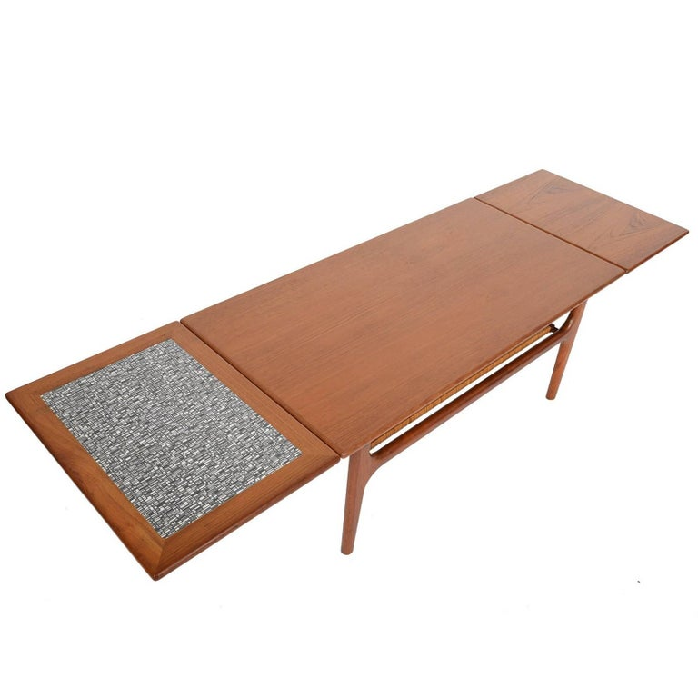 Danish modern teak extension coffee table for sale at 1stdibs for Coffee table extension