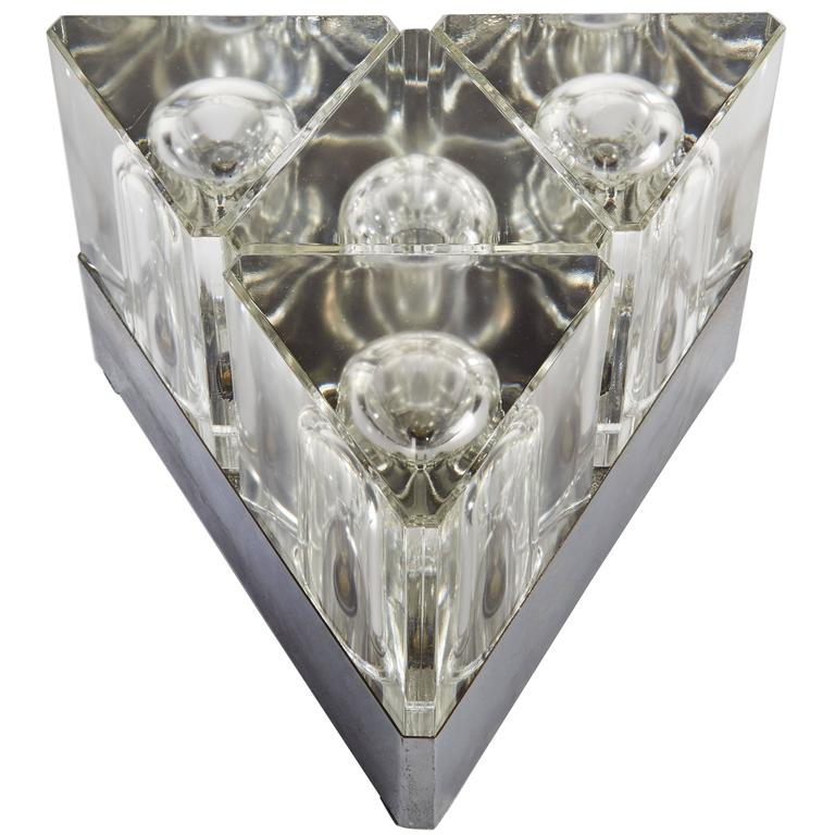 Steel and Cut-Glass Table Lamp in the style of Alessandro Medini, circa 1970 For Sale