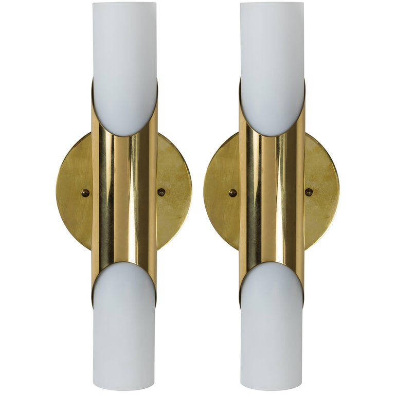 1960s neuhaus leuchten glass and brass sconces at 1stdibs. Black Bedroom Furniture Sets. Home Design Ideas