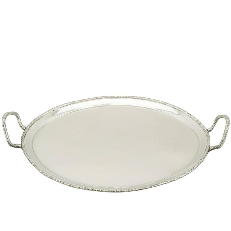 1800s Antique Italian Silver Tray For Sale