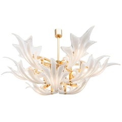 1970s Brass Murano Chandelier with Glass Flower Leaves