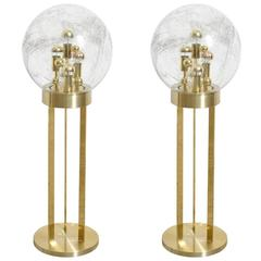 Set of Doria Brass and Glass Globe Floor Lamps, 1970s