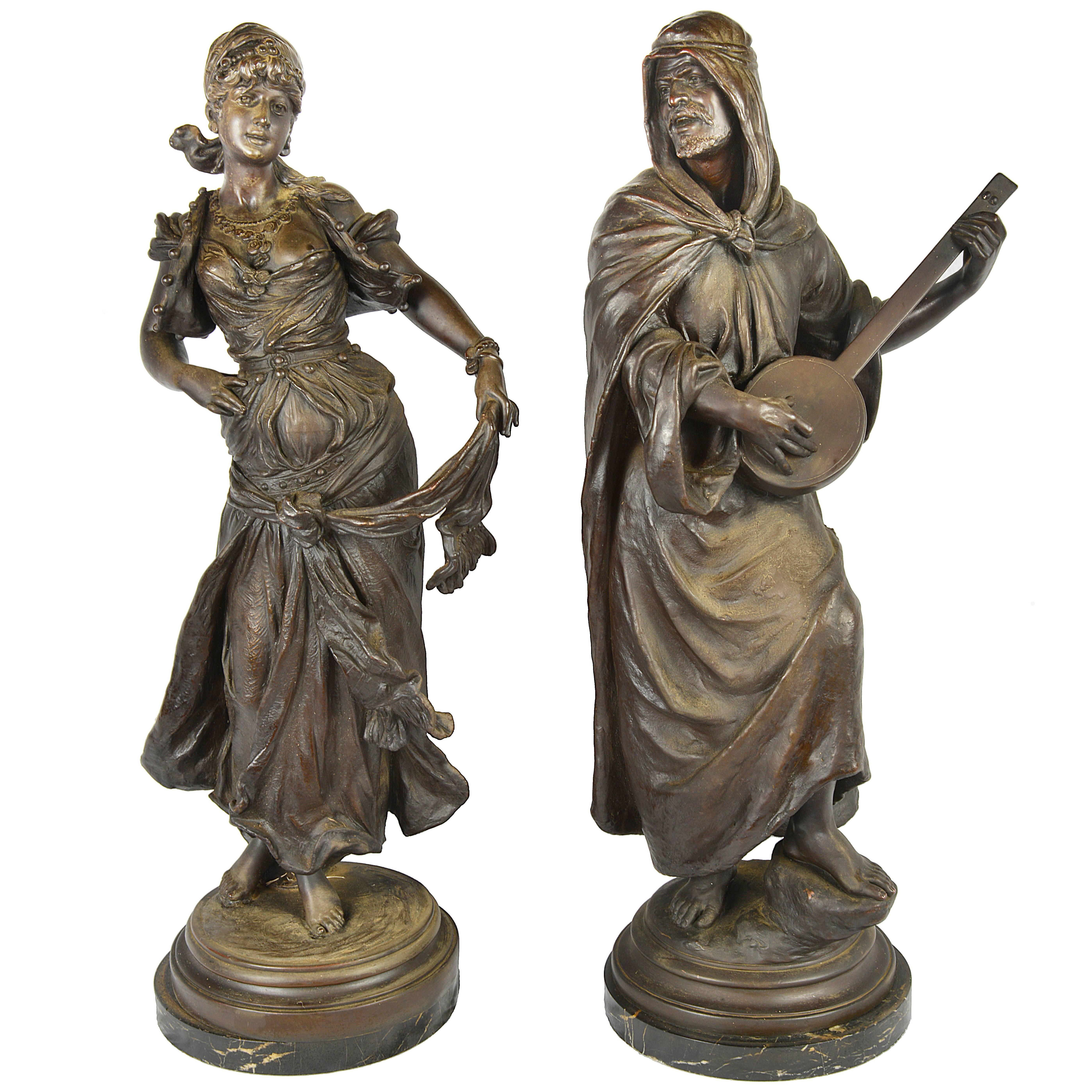 Pair of 19th Century French Bronzed Figures of Arabs
