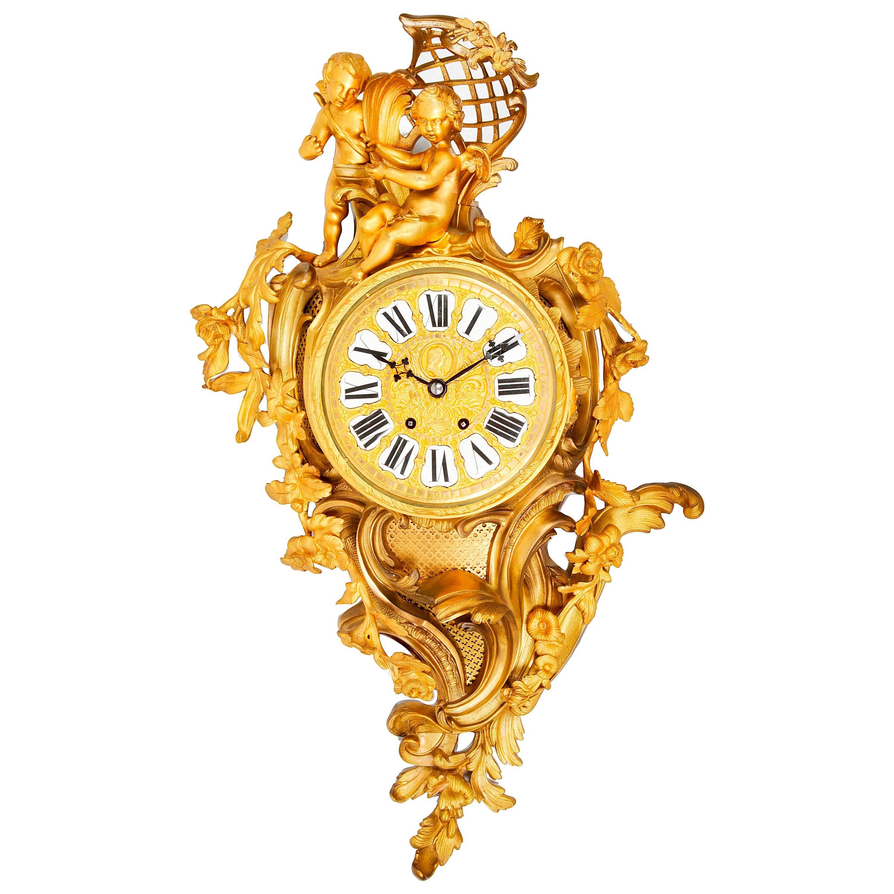 French 19th Century Ormolu Cartel Wall Clock