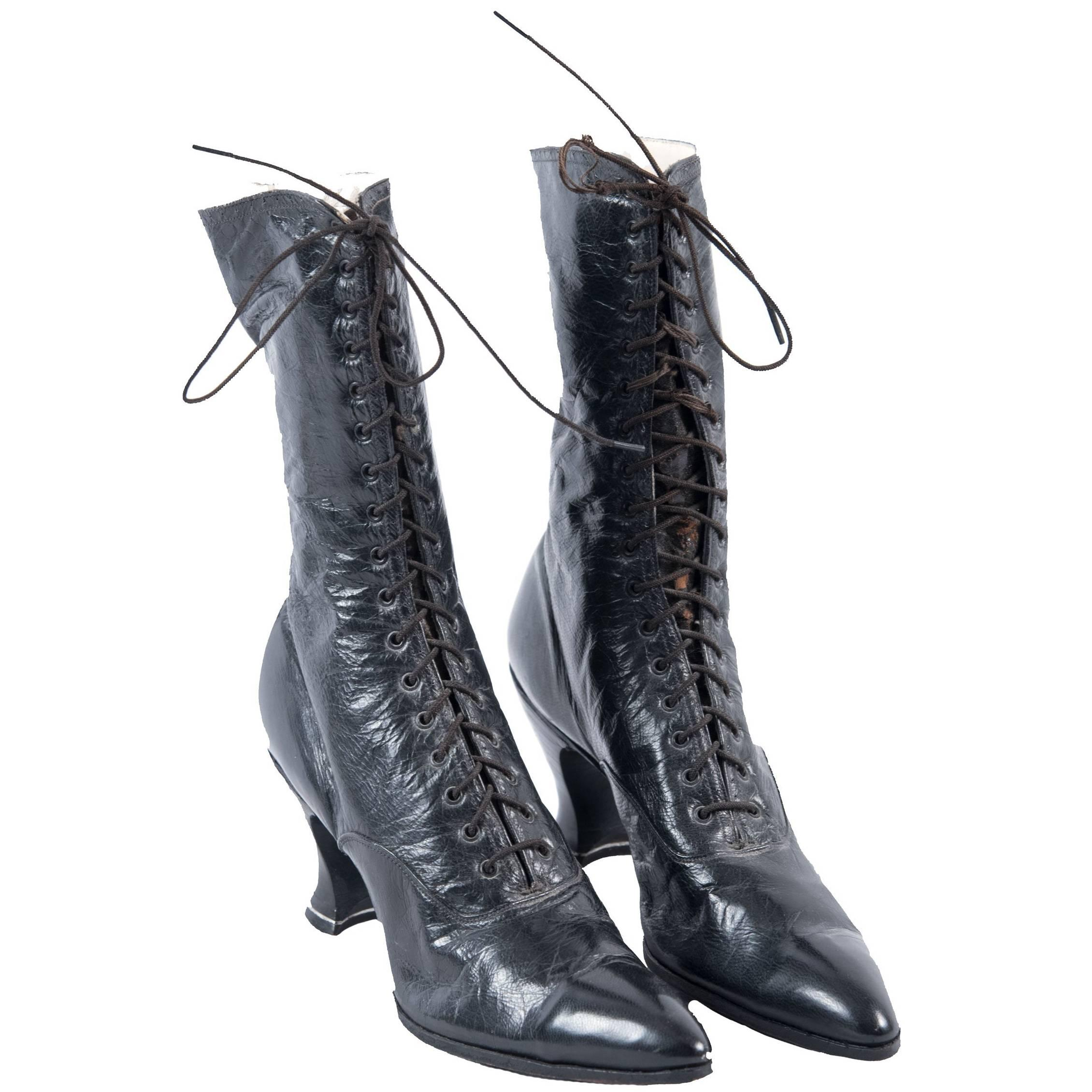 Pair of Women's Victorian High-Top Leather Boots