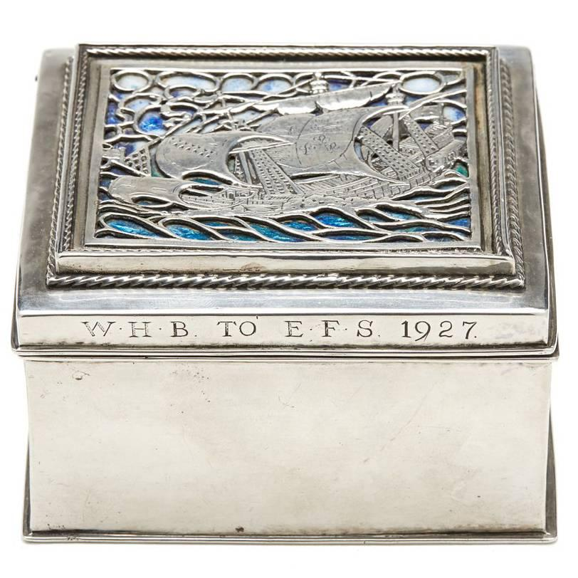 Omar Ramsden Arts & Crafts Silver and Enamel Box, 1926